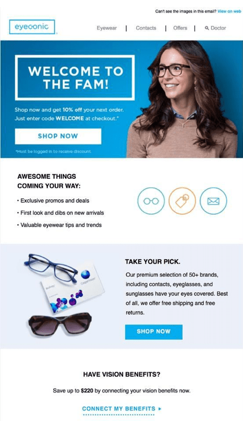 Eyeconic first purchase lifecycle email