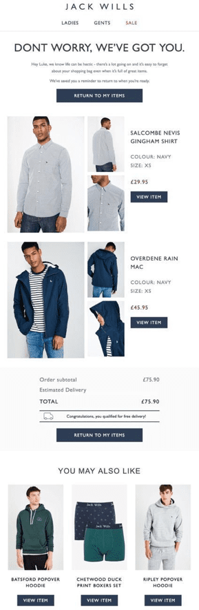 Jack Wills abandonment cart lifecycle email