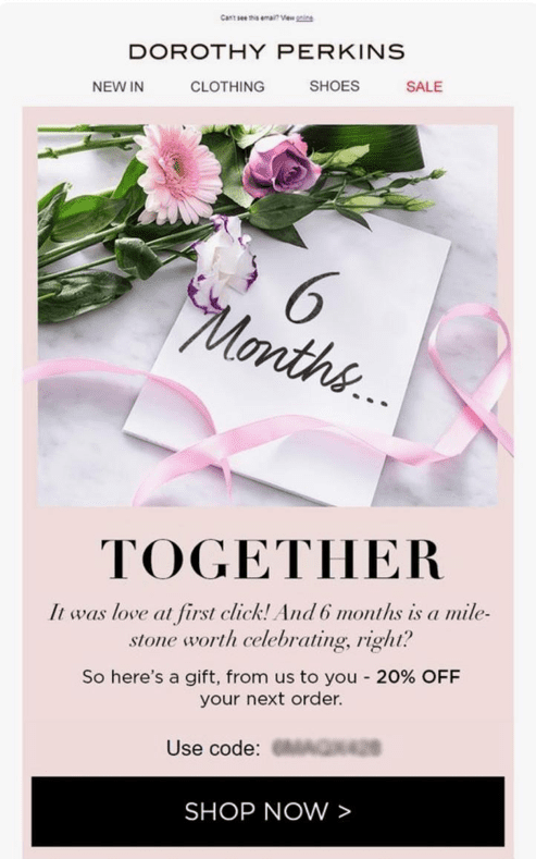 Dorothy Perkins anniversary email