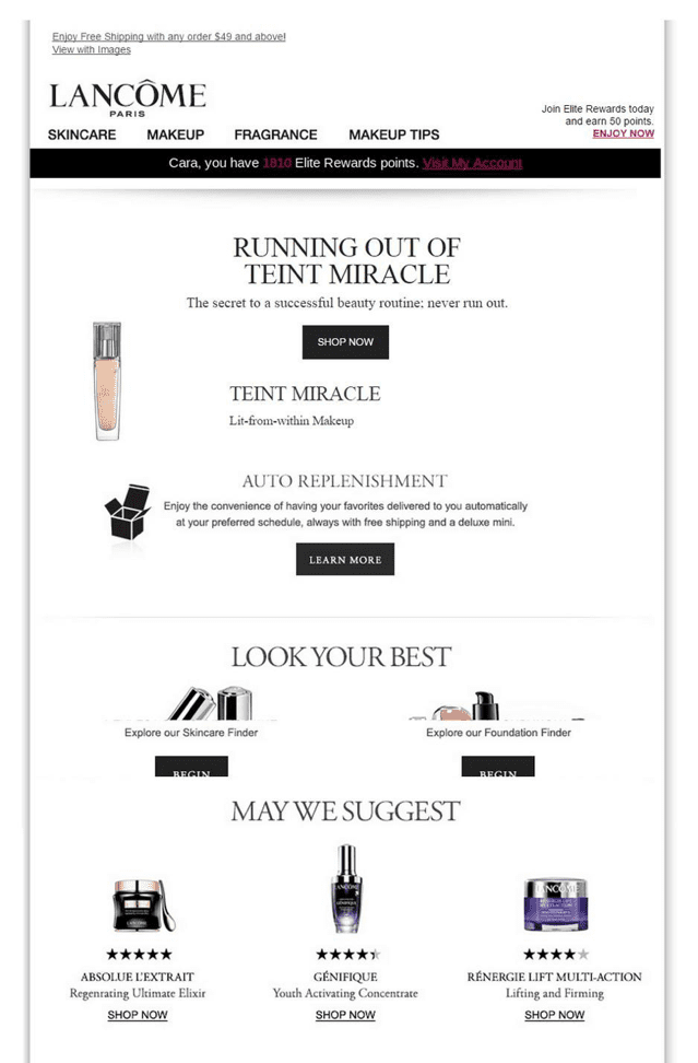 Lancome replenishment email