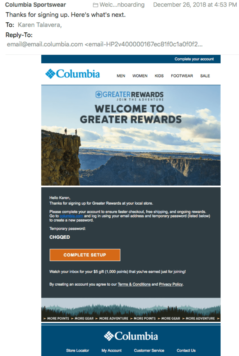 Columbia Sportswear Signup in Store - Account Completion