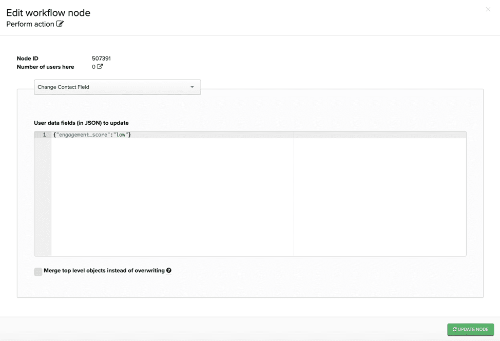 Editing contact field in in-app promotion workflow