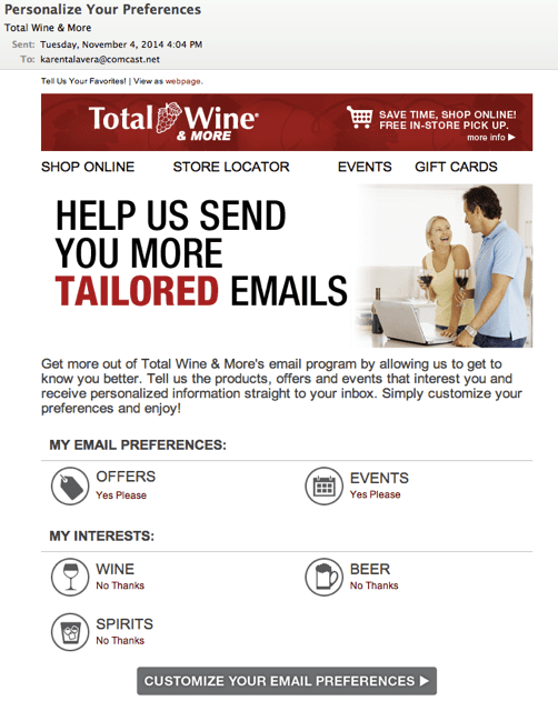 "Total Wine & More ""Personalize Your Preferences"" Email"