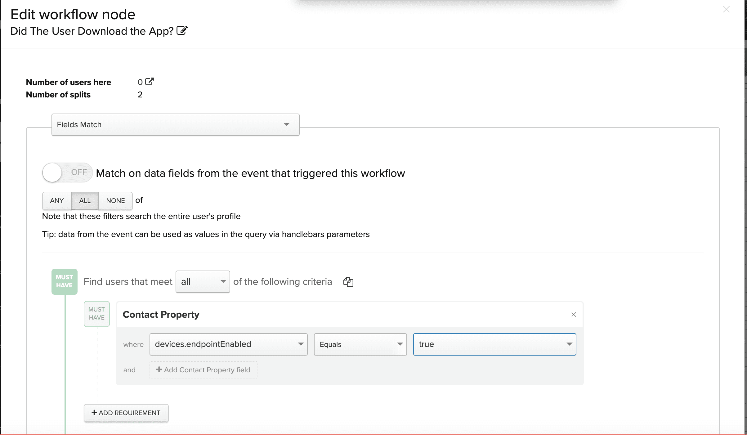 Edit workflow node screenshot