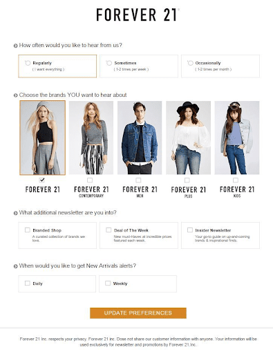 Forever21 Preference Center Example