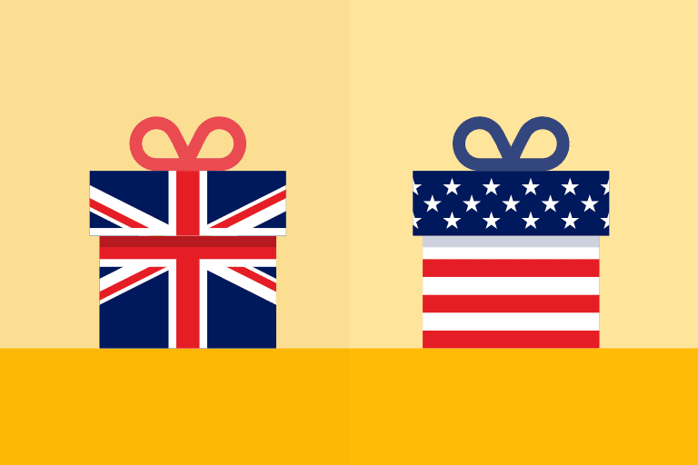 U.K. vs U.S. holiday email marketing illustration