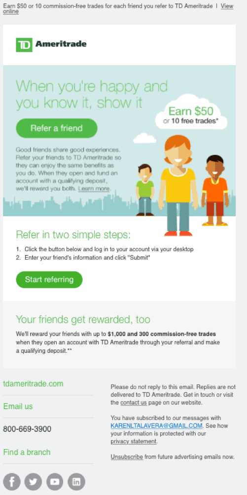 """TD Ameritrade """"Refer a Friend"""" Email"""