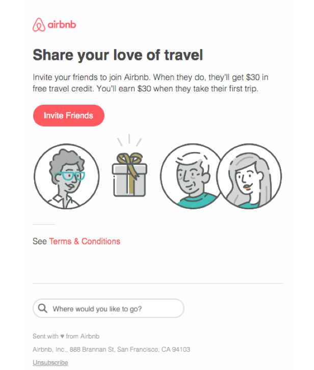 """Airbnb """"Invite Friends"""" Email"""