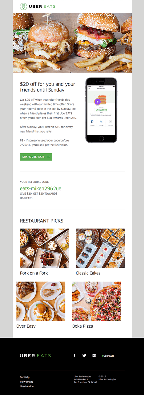 Uber Eats Referral Campaign