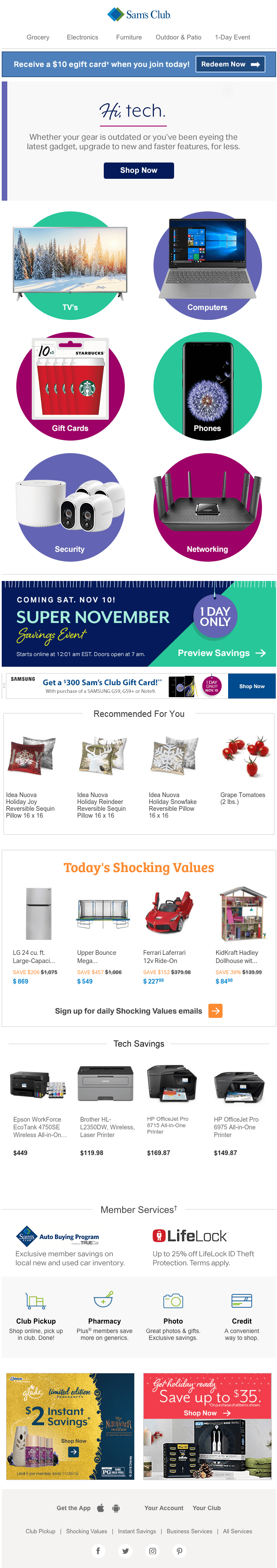 Email from Sam's Club