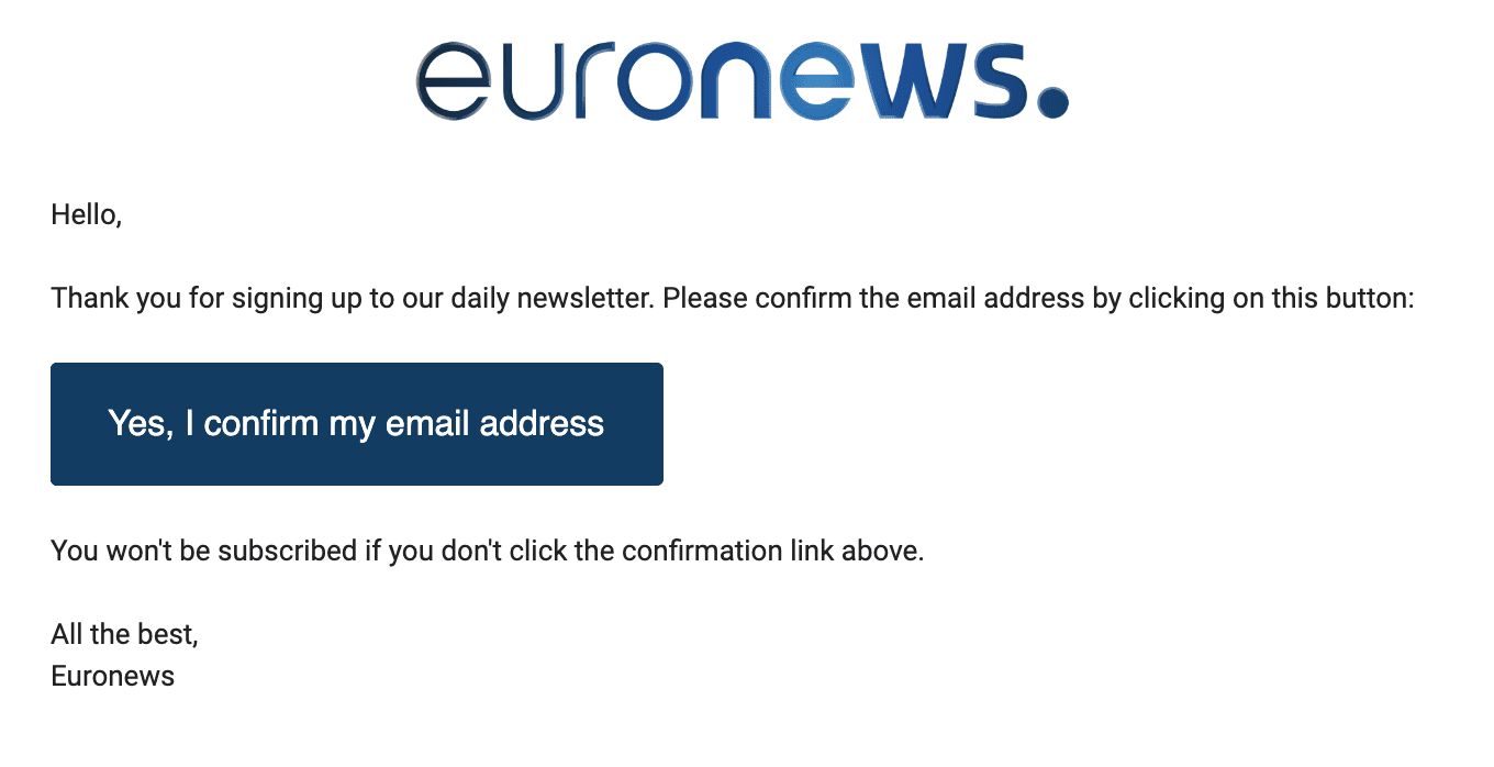 Euronews double opt-in email