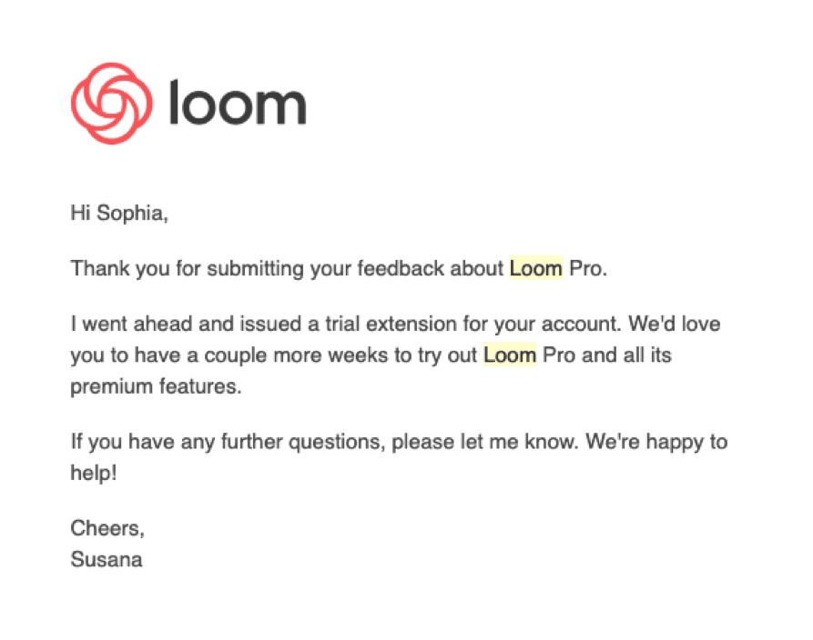 Loom survey thank you
