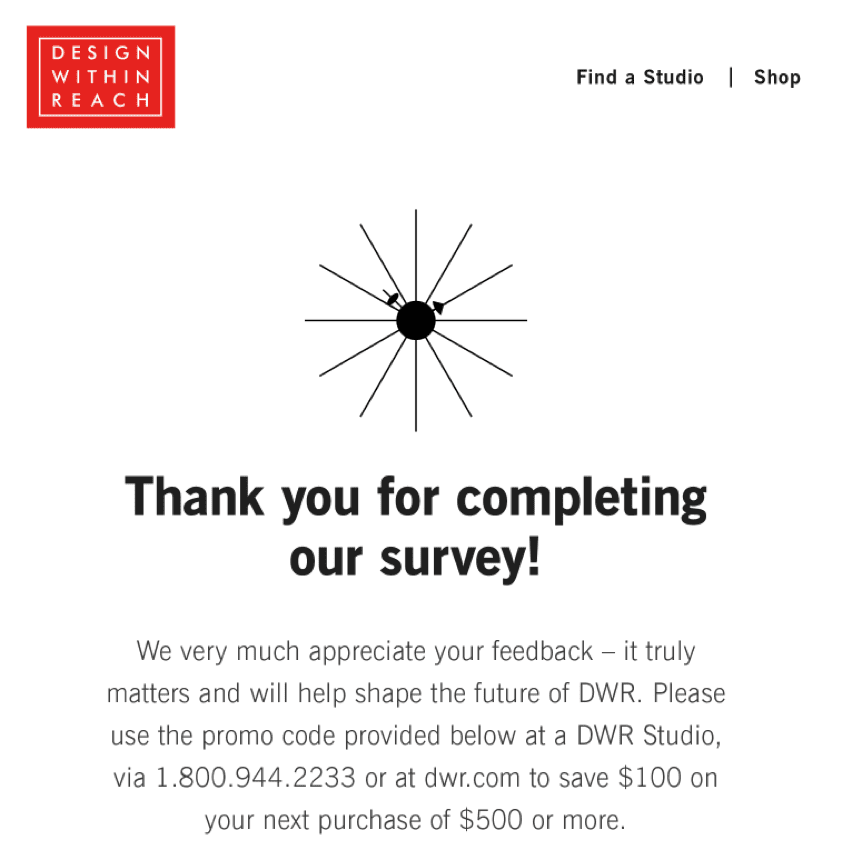 Design Within Reach survey thank you