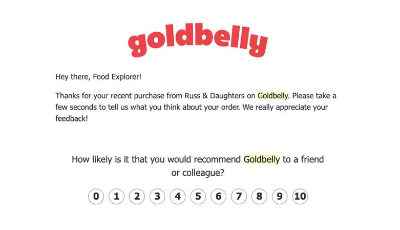 Goldbelly NPS survey