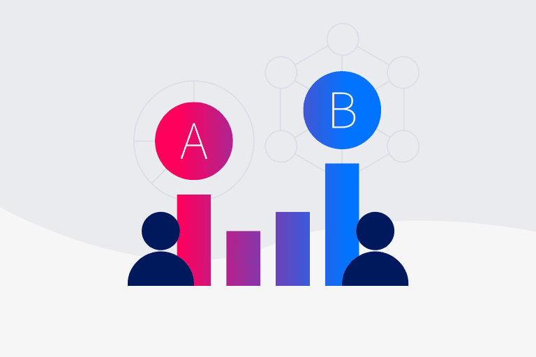 A/B testing illustration to depict email experiments
