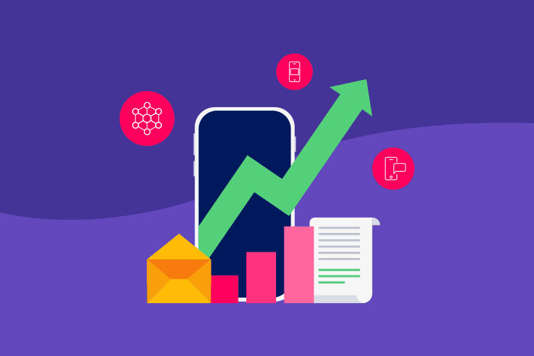 Illustration to depict mobile growth with cross-channel messaging campaigns