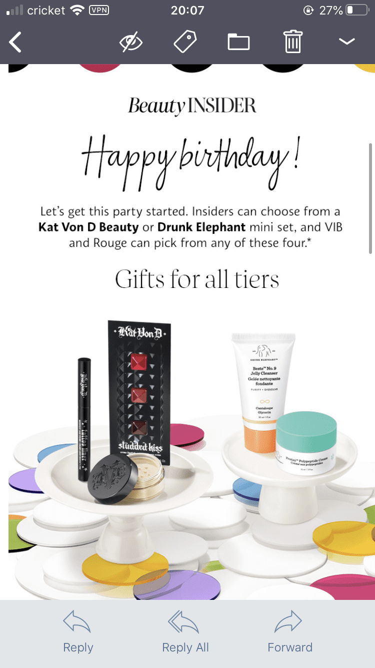 Sephora birthday campaign