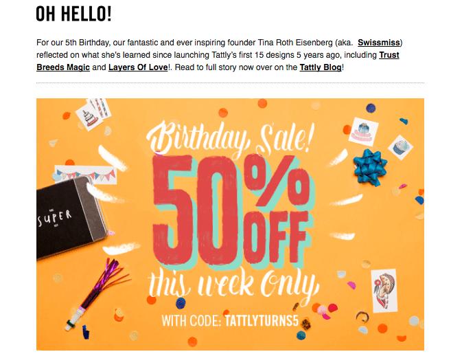 Tattly birthday sale email