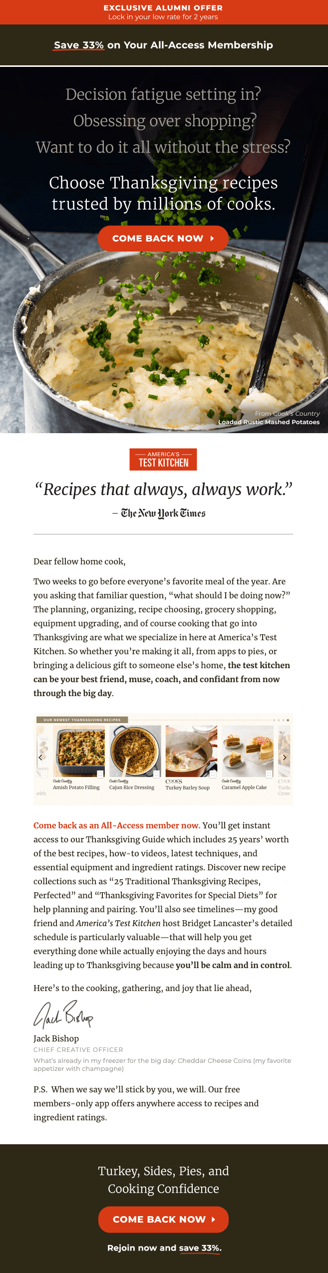 America's Test Kitchen reactivation email