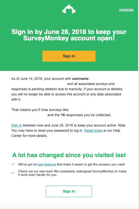 SurveyMonkey reactivation email