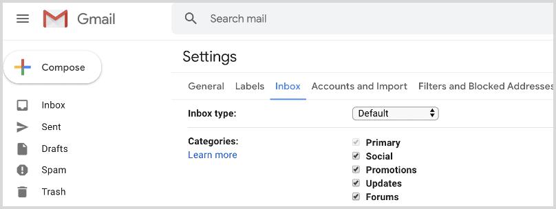 Gmail Inbox Categories