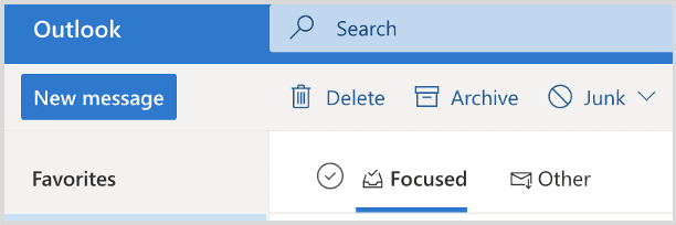 Focused and Other Tabs in Outlook
