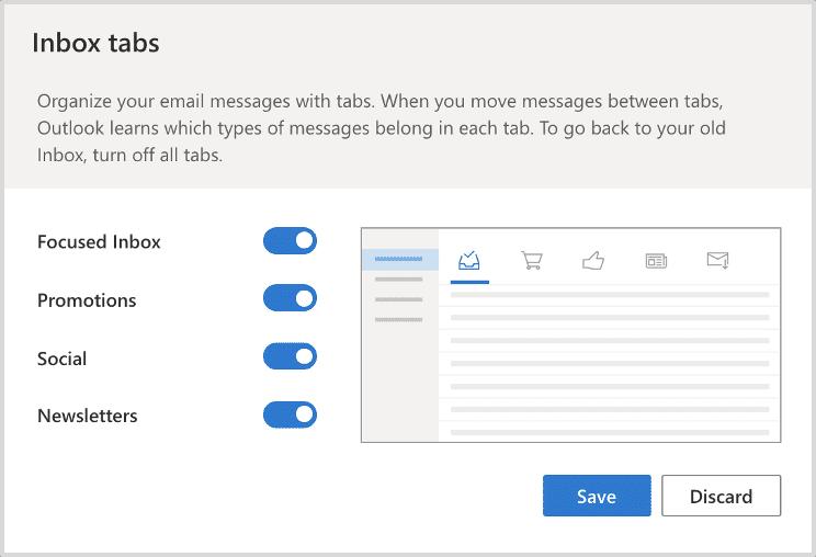 Microsoft Inbox Tabs