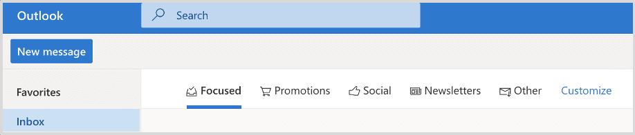 Inbox view of Microsoft Inbox Tabs