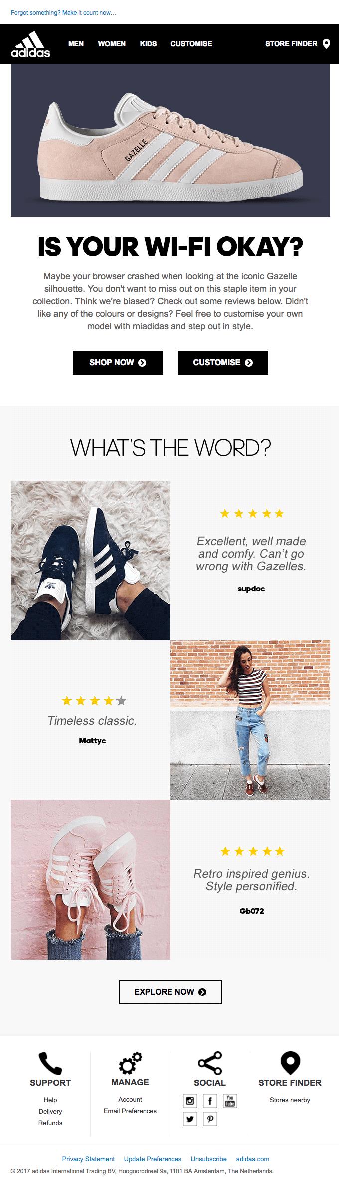 Adidas cart abandonment upsell email