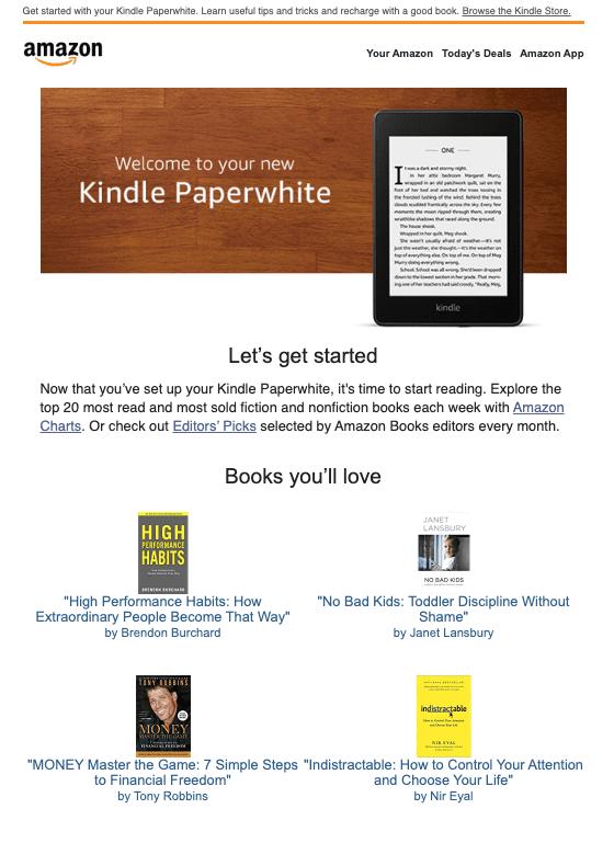 Amazon Kindle cross-sell email