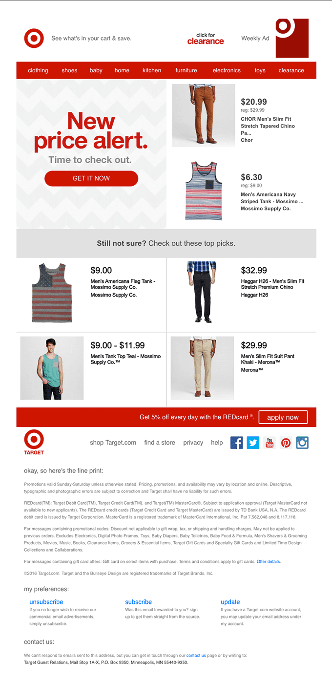 Target cart abandonment email