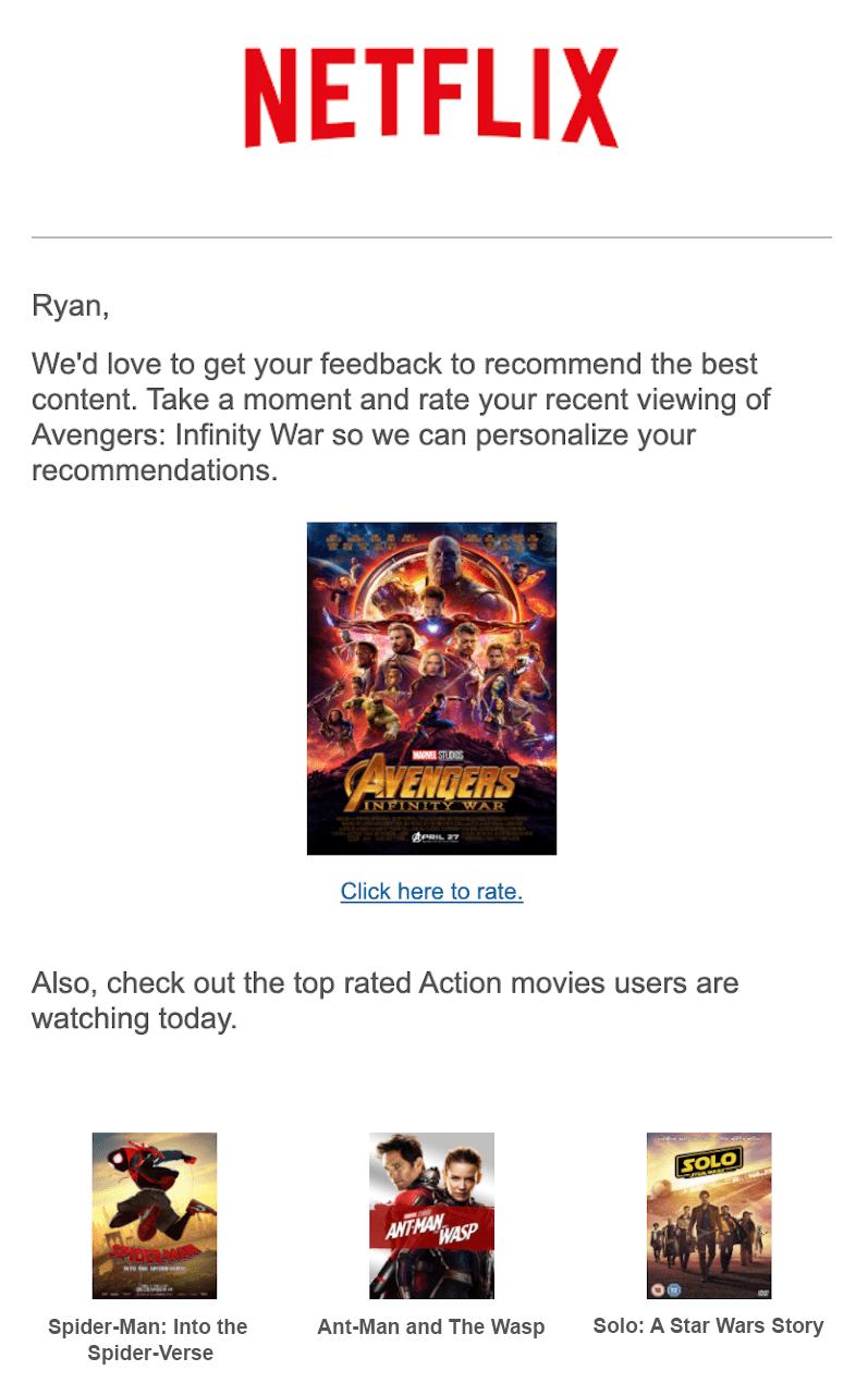 Netflix example Catalog content personalization