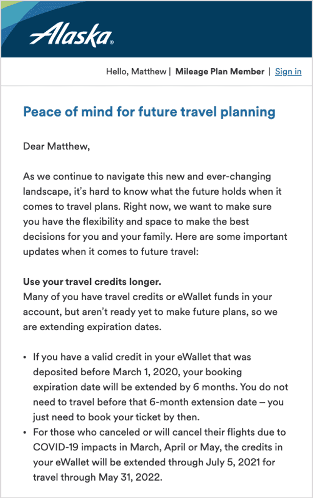 Alaska Airlines travel credits email