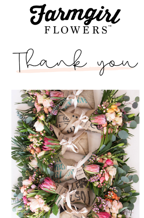 Farmgirl Flowers thank you email - above the fold