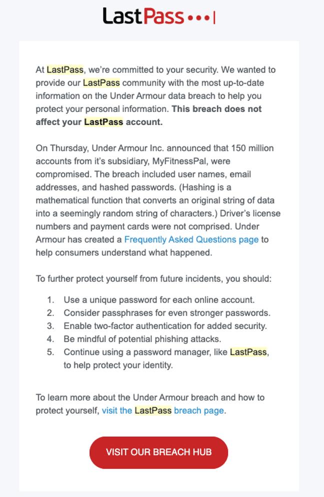 LastPass Under Armour data breach crisis