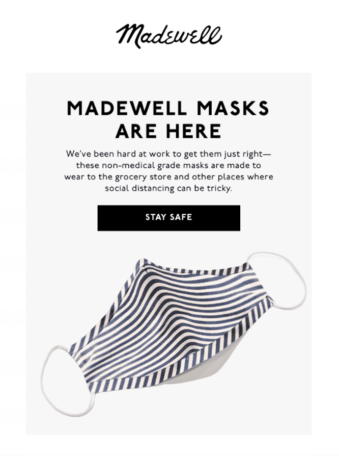 Madewell mask email - above the fold