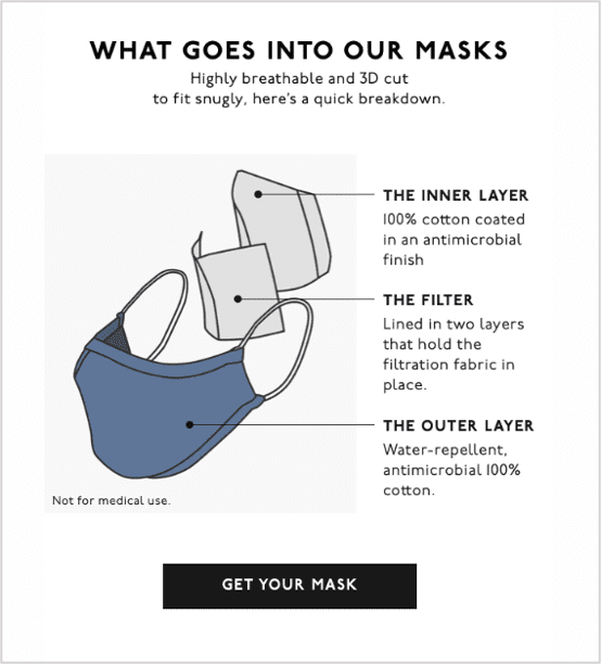 Madewell mask email - below the fold