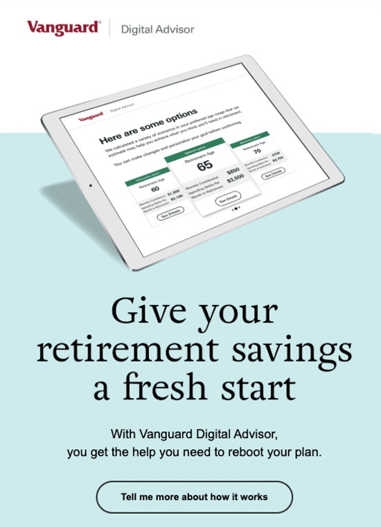 Vanguard crisis email - above the fold