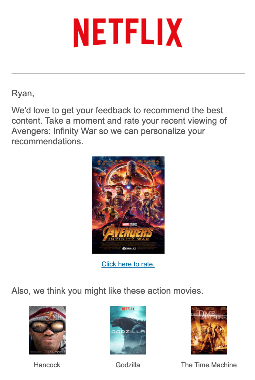 Data feed recommendations inside sample email