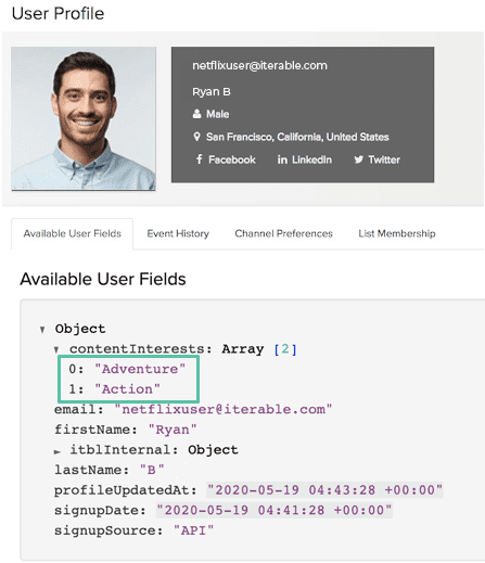 Iterable user profile standard view