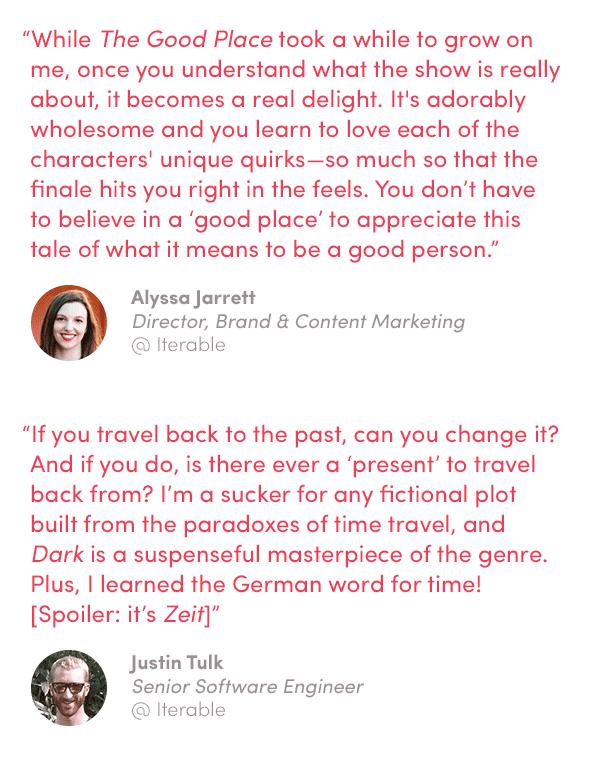 TV quotes by Alyssa Jarrett and Justin Tulk