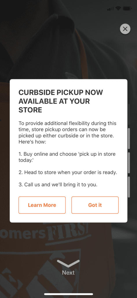 Home Depot Curbside Pickup