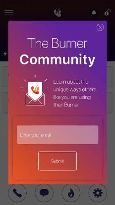 Burner email popup
