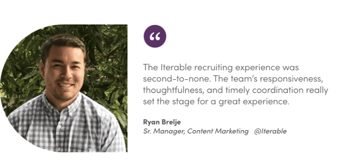 Iterable company culture testimonial on recruiting by Ryan Brelje