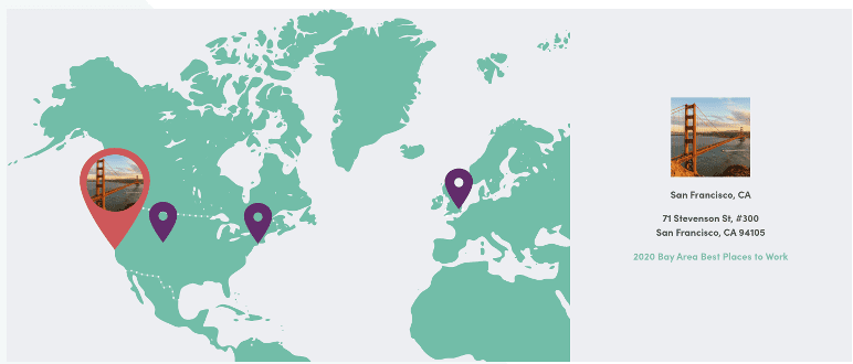 Map of Iterable's four office locations