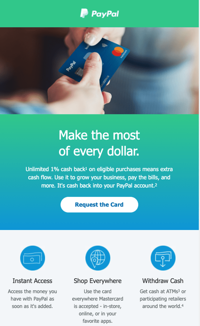 PayPal Mastercard email