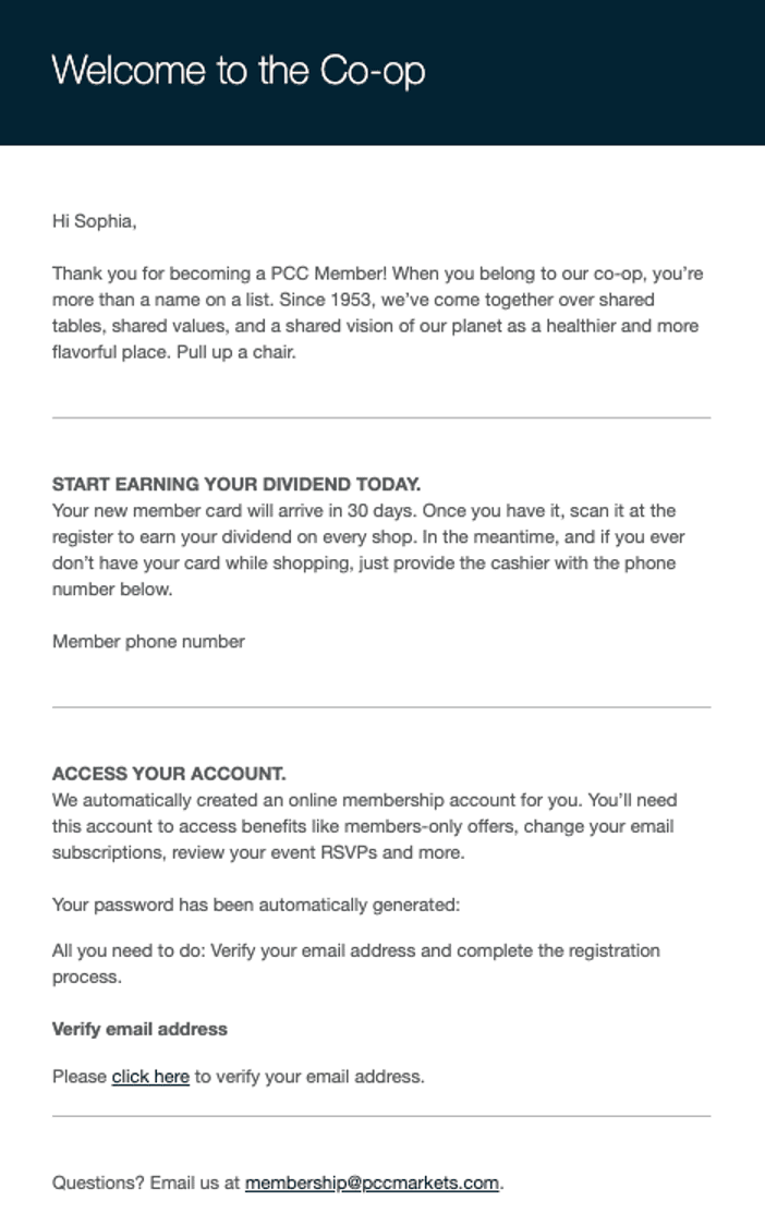 PCC loyalty email