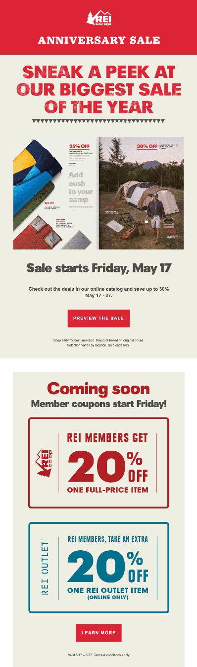 REI loyalty email