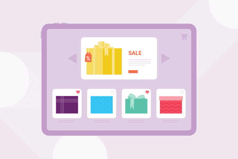 Illustration of e-commerce holiday shopping