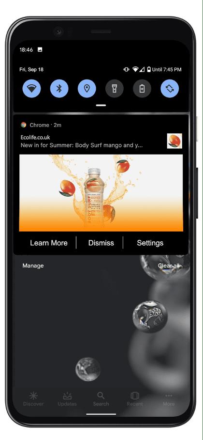 Sample mobile web push notification